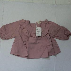 Dudu Cream Top Dark Rose Pink 12-18m